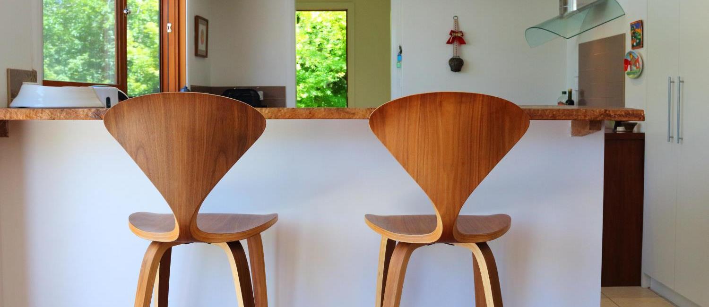 A set of Norman Cherner bar stools at Murrarang, Blue Mountains accommodation in Medlow Bath